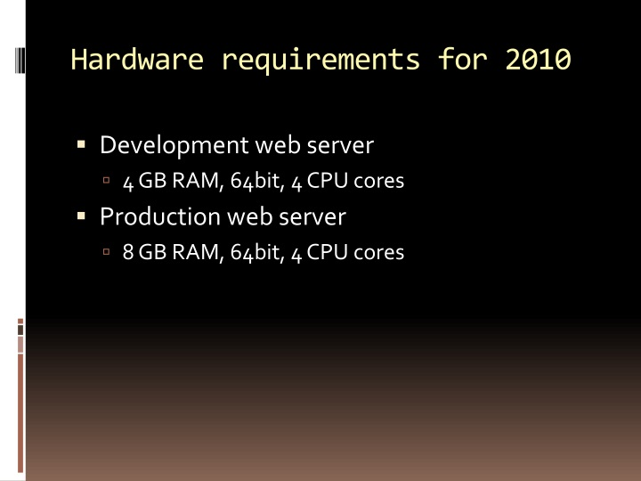 Hardware requirements for 2010
