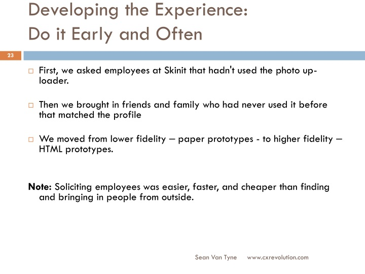 Developing the Experience: