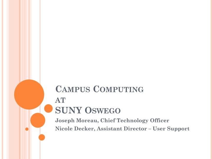 campus computing at suny oswego n.