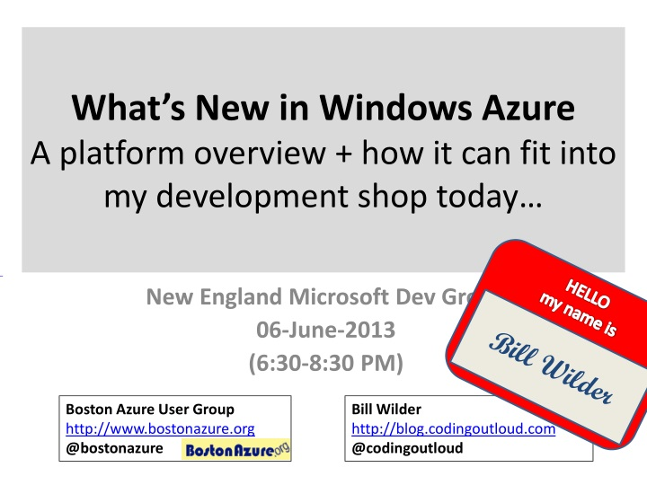 what s new in windows azure a platform overview how it can fit into my development shop today n.