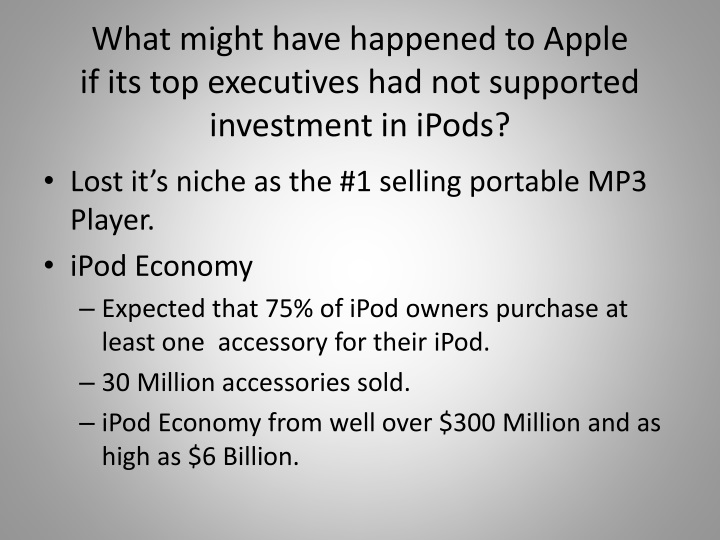 1 what might have happened to apple if its top executives had not supported investment in ipods An anonymous inside source this week proclaims to business week that apple and at&t have had apple bicker over wireless congestion sure apple may have.