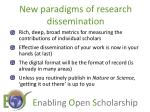 new paradigms of research dissemination
