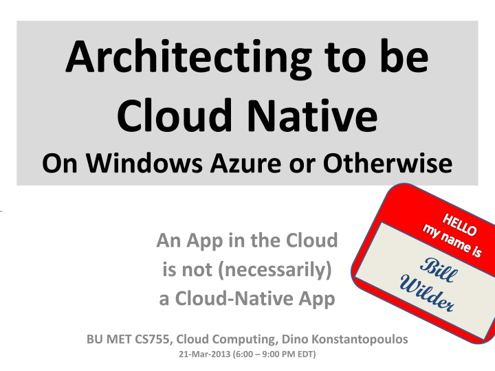 architecting to be cloud native on windows azure or otherwise n.