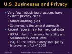 u s businesses and privacy
