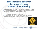 international internet connectivity and misuse of numbering