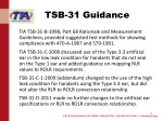 tsb 31 guidance