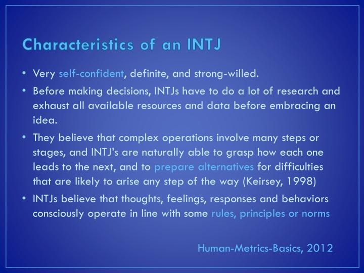 Characteristics of an intj