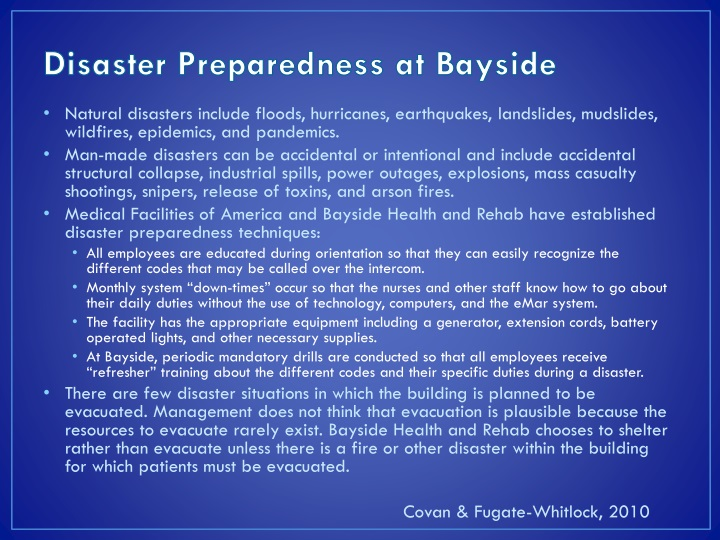 Disaster Preparedness at Bayside