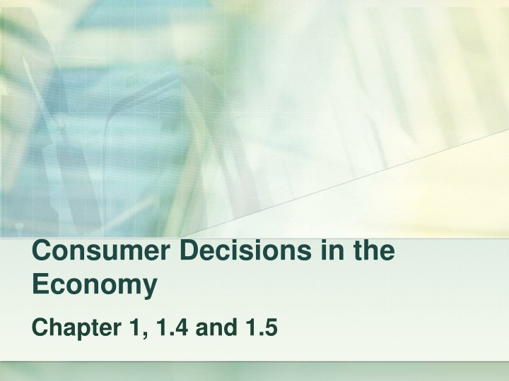 consumer decisions in the economy n.
