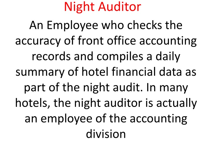 PPT - Night Audit PowerPoint Presentation - ID:1505923