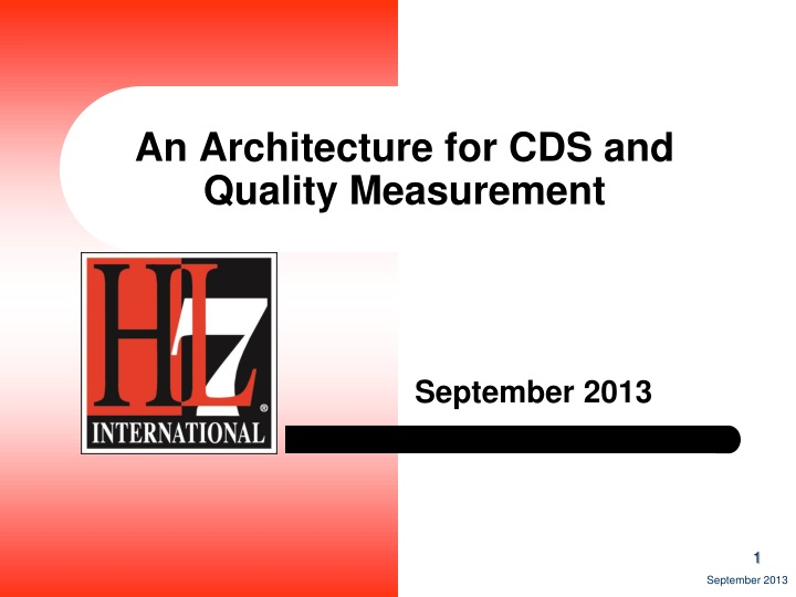 an architecture for cds and quality measurement n.