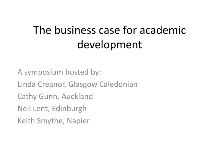 t he business case for academic development