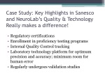 case study key highlights in sanesco and neurolab s quality technology really makes a difference