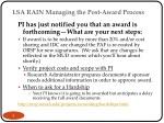 lsa rain managing the post award process