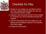 checklist for may