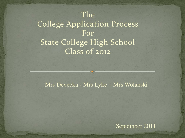 the college application process for state college high school class of 2012