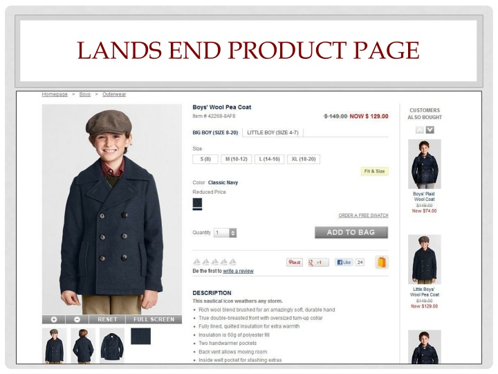 Lands end product page