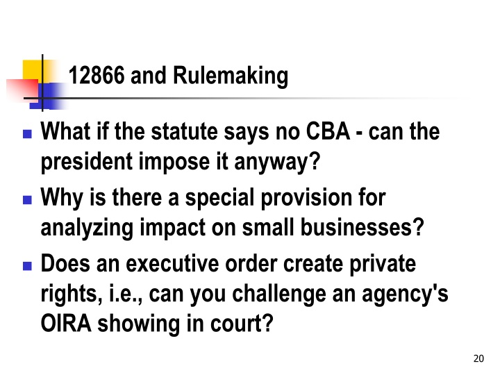 12866 and Rulemaking