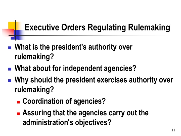 Executive Orders Regulating Rulemaking