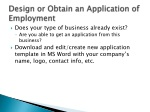 design or obtain an application of employment