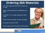 ordering sba materials