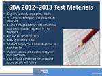 sba 2012 2013 test materials