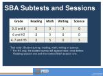 sba subtests and sessions