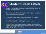 student pre id labels
