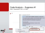 code analysis suppress 1 add in suppression file or in code