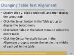 changing table text alignment