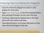 entering text in a hierarchy diagram