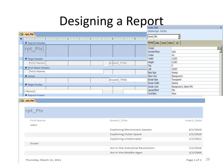 Designing a Report
