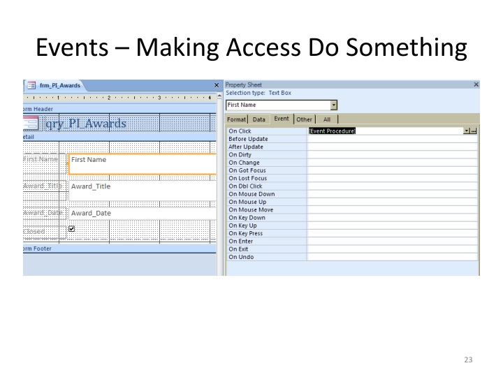 Events – Making Access Do Something