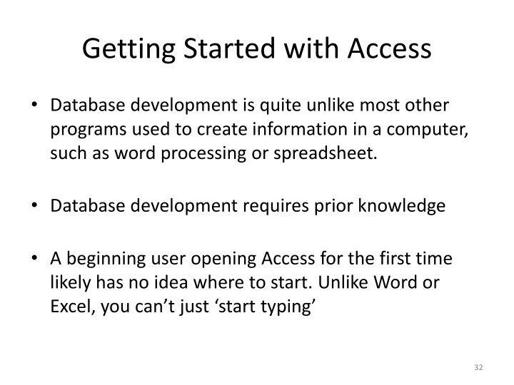 Getting Started with Access