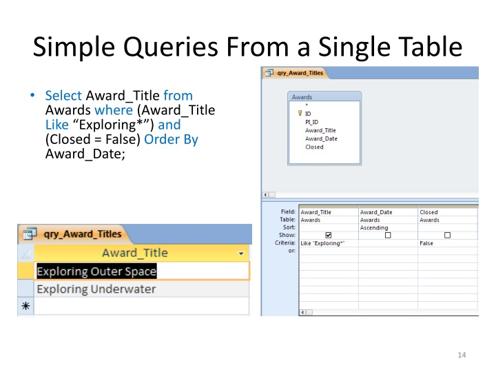 Simple Queries From a Single Table