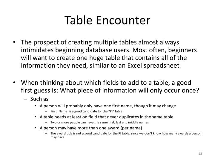Table Encounter
