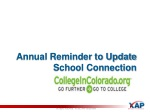 annual reminder to update school connection