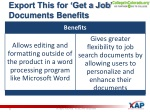 export this for get a job documents benefits