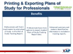 printing exporting plans of study for professionals