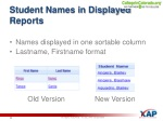 student names in displayed reports