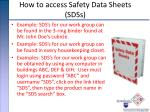 how to access safety data sheets sdss