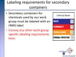 labeling requirements for secondary containers