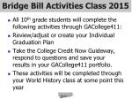 bridge bill activities class 2015