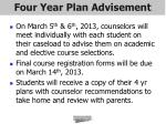 four year plan advisement
