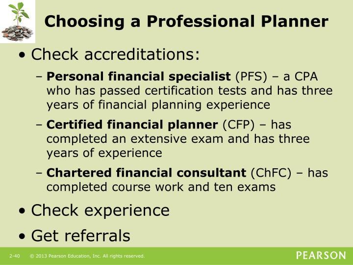 Choosing a Professional Planner