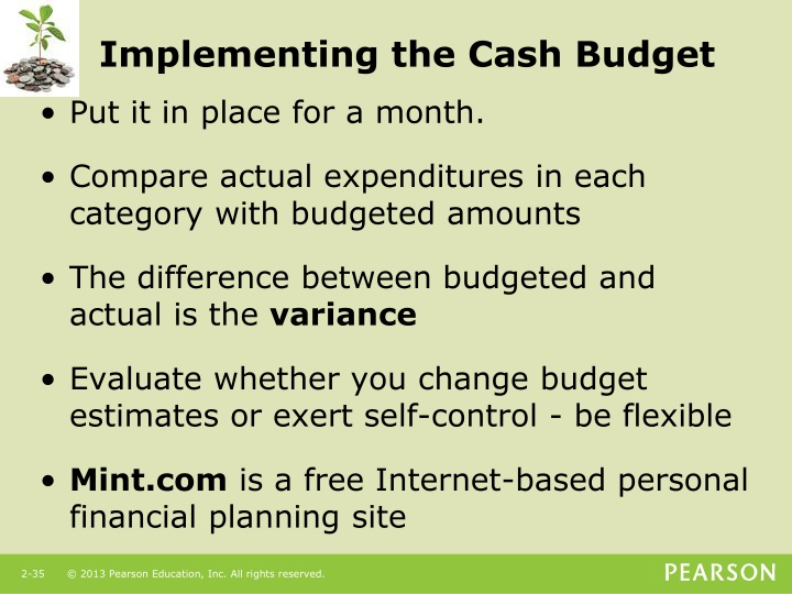Implementing the Cash Budget