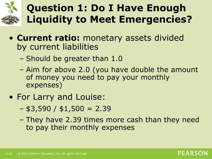 Question 1: Do I Have Enough Liquidity to Meet Emergencies?