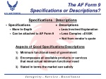 the af form 9 specifications or descriptions