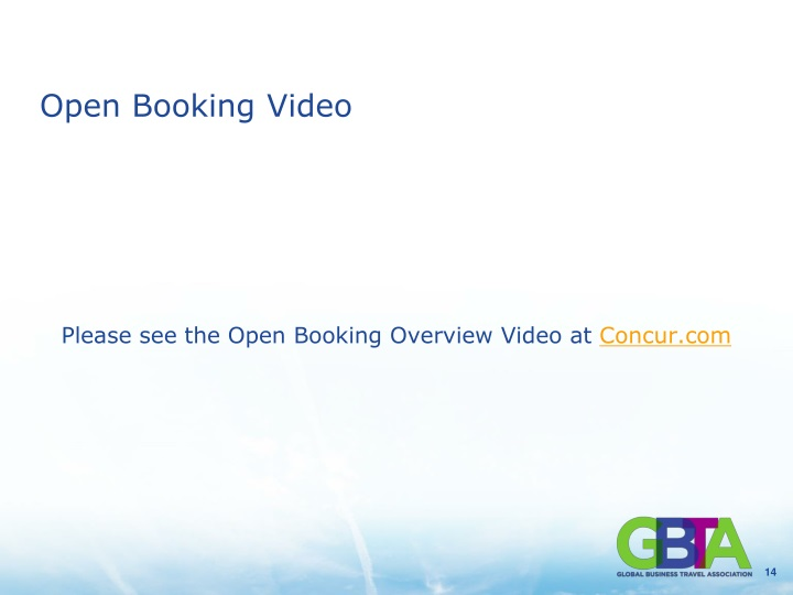 Open Booking Video