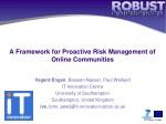 a framework for proactive risk management of online communities